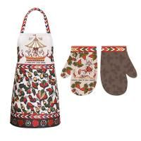 Set of apron and mitten Russian Proverbs
