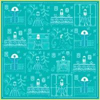 "Handkerchief ""once there was a Kokosh"" on turquoise background"