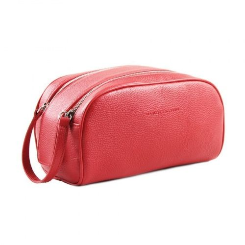 Leather cosmetic bag red